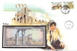 FDC Mit Geldschein 10 Livres Bankfrisch Libanon - Liban