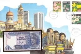 FDC Mit Geldschein 1 Satu Ringit Bankfrisch Malaysya - Malaysia
