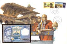 FDC Mit Geldschein 1 Rupie Bankfrisch Nepal - Népal