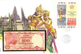FDC Mit Geldschein 100 Rupiah Bankfrisch & Block 1984 Indonesien - Indonésie