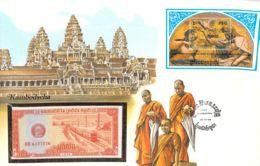 FDC Mit Geldschein 0,5 Riel Bankfrisch & Block 1979 Kampuchea - Cambodia