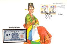 FDC Mit Geldschein 10 Jeon Bankfrisch & Block1962 Süd-Korea - Korea (Süd-)