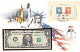 FDC Mit Geldschein 1 Dollar Bankfrisch & Block1985 USA - USA