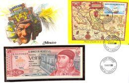 FDC Mit Geldschein 20 Pesos Bankfrisch 1977 & Block Mexico - Mexiko