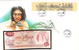 FDC Mit Geldschein 1 Dollar Bankfrisch & Block Guyana - Guyana