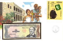 FDC Mit Geldschein 1 Peso Bankfrisch & Block Domininca - Dominikanische Rep.