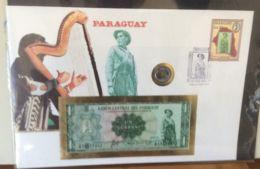 FDC Mit Geldschein 1 Guarani Bankfrisch &  Münze  Paraquay - Paraguay