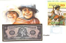 FDC Mit Geldschein 10 Sucres &  Block 1986 Ecuador - Ecuador