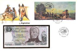 FDC Mit Geldschein 5 Pesos &  Block Argentinien - Argentinien