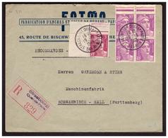 GANDON Bloc De 4 Du N° 811  Sur Lettre Rec. De STRASBOURG Pour SCHWAEBISCH ( Allemagne ) Du 19.10.48. - France