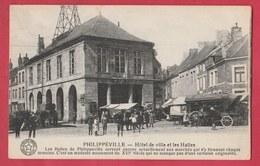 Philippeville - Hôtel De Ville Et Les Halles ... Jour De Marché - 1927   ( Voir Verso ) - Philippeville