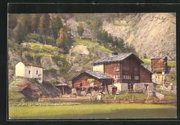 AK Saas-Grund, Blick Auf Ein Gehöft - VS Valais