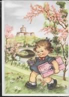 BAMBINA CON PACCO - SCRITTA E DATATA 1947 - Disegni Infantili