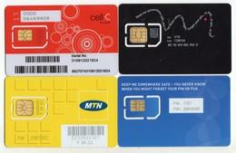 AFRIQUE DU SUD LOT 4 CARTE GSM CELL MTN TELKOM VERSO NUMEROTEE - Afrique Du Sud