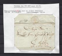 "VOORLOPER 1797 INKOMSTSTEMPEL ""H"" IN ROOD IN CIRKEL (Holland) EN SCHRIFTSTEMPEL Leiden NAAR Aelst - 1794-1814 (Période Française)"