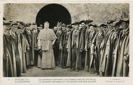 Le Coprince Espagnol Et Les Conseillers Des Vallées V. Claverol  Timbrée 1936 - Andorra