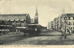 India, BOMBAY, Tramway Company's Office, Church, Horse Tram (1911) Postcard - India