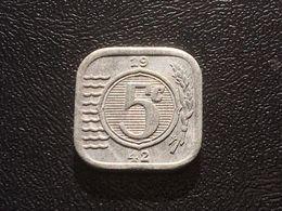1942 Netherlands (German Occupation) 5 Cents Coin Zinc - [ 3] 1815-… : Kingdom Of The Netherlands
