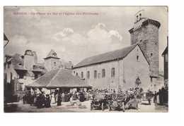 48 Mende La Place Au Blé Et L' Eglise Des Pénitents Cpa Carte Animée Vieille Voiture Auto Automobile - Mende