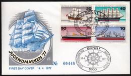 Germany Bonn 1977 / Youth Stamps / Jugendmarken / Ships / FDC - Barcos