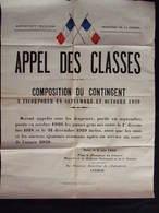 AFFICHE GUERRE APPEL DES CLASSES 1939 - Documents