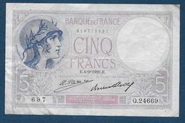 Billet 5 F  Violet  Du 4 - 9 - 1926 - 1871-1952 Antiguos Francos Circulantes En El XX Siglo
