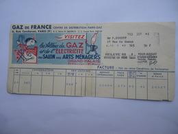 Facture GAZ DE FRANCE 1954 Illustration D'ap. Francis Bernard Salon Des Arts Ménagers Paris - Electricité & Gaz