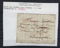 VOORLOPER 1828 VAN Doornik Naar Bruxelles Stempeltype 2 DOORNIK - 1815-1830 (Dutch Period)