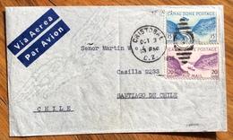 """ITALIA"" FLOTTE RIUNITE GENOVA ENVELOPE PAR AVION  FROM CRISTOBAL CANAL  ZONE TO SANTIAGO DE CHILE - Panama"