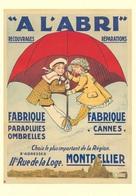 Product Postcard A L'Abri Parapluies Ombrelles Cannes Montpellier 1909 - Reproduction - Publicité