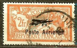 SUPERBE POSTE AERIENNE N°1 2F Orange Oblitéré CàD Coté 250 € SURCHARGE MODERNE - Airmail