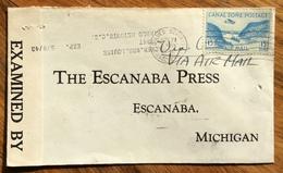CANAL ZONE ENVELOPE PAR AVION FROM DIABLO HEIGHTS  TO ESCANABA MICHIGAN  U.S.A. THE  24/11/42 CON CENSURA - Panama