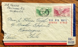 CANAL ZONE ENVELOPE PAR AVION FROM CRISTOBAL  TO RANCAGUA CHILE . THE  24/6/1941 - Panama