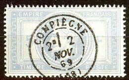 SUPERBE NAPOLEON N°33a 5F Gris-Bleu Oblitéré CàD COMPIEGNE Coté 1100 € (REPRODUCTION) - 1863-1870 Napoléon III Lauré