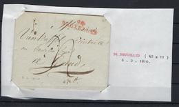 VOORLOPER 1810 NAAR Gand 94 BRUXELLES In Het Rood (42mm X 11mm) - 1794-1814 (Période Française)