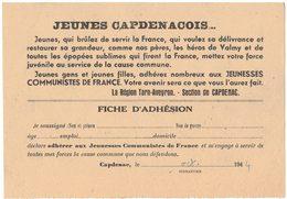 HISTOIRE POLITIQUE SYNDICALISME PARTI COMMUNISTE FRANCAIS FFI AVEYRON TARN CAPDENAC JEUNESSES COMMUNISTES DE FRANCE - Documents Historiques