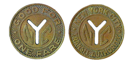 04251  GETTONE TOKEN JETON FICHA TRASPORTI TRANSIT TRASPORTATION NEW YORK MANHATTAN 1953-1970 - Unclassified