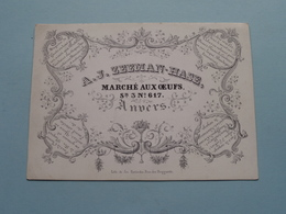 A. J. ZEEMAN-HASE Marché Aux Oeufs Sn. 3 N° 617 ANVERS ( Porcelein / Porcelaine ) Formaat +/- 13 X 9,5 Cm.! - Cartes De Visite