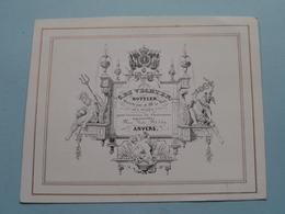 C. DE VECHTEN Bottier Place Verte N° 449 ANVERS ( Porcelein / Porcelaine ) Formaat +/- 14 X 11 Cm.! - Visitenkarten