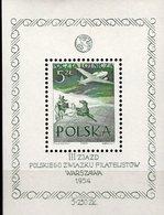 EXPO Warszawa 1954 Polen Block 13 ** 45€ Philatelie Flugzeug über Postkusche Hb S/s Bloc Philatelic Sheet Bf Poland - Expositions Philatéliques
