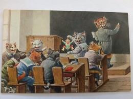 ...cpa...Arthur Thielle... Chats Humanisés, école, Marionette, Pantin...... - Thiele, Arthur