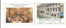 52 Carte Pub Double Grand-hotel De LEurope TBE - Langres