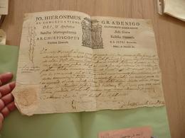 Religion Italie Udine 16/07/1766 Formule Imprimée Aux Armes + Autographe Archevêque Graedigno+ Sceau - Diploma & School Reports