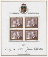 614 Fürstenpaar - Fürst Franz Josef II. Und Fürstin Gina 1974, Kleinbogen ** - Liechtenstein