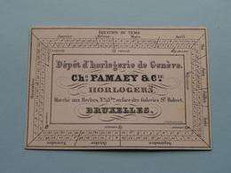 Ch. FAMAEY & Cie HORLOGERS Marché Aux Herbes N° 23bis BRUXELLES Dépot D'horlogerie De Genève( Form. +/- 9,5 X 6,5 Cm. ) - Cartes De Visite