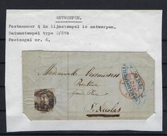 N°6 (ntz) GESTEMPELD P4 Anvers NAAR St.Nicolas Datumstempel Type D/21b - 1851-1857 Médaillons (6/8)