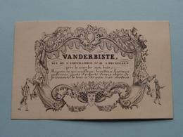 VANDERBISTE Rue De L'Imperatrice N° 21 BRUXELLES / Magasin De Tout ( Form. +/- 10,5 X 7 Cm. ) - Cartes De Visite