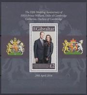 Gibraltar 2016 Micheln° Bloc 125 *** MNH Prince William Et Catherine - Royalties, Royals