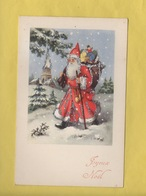 *2418*  JOYEUX NOEL * Père Noêl, Santa Claus ** Cadeaux, Jouets Eglise, Neige...carte Pailletée **. JLP Charme N°925 - Santa Claus