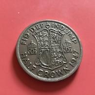 GRAN BRETAGNA  - ENGLAND - 1947 - 1/2 Half CROWN  Giorgio VI - 1971-… : Monete Decimali